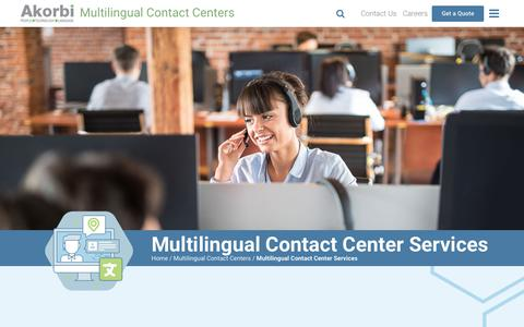 Screenshot of Services Page akorbi.com - Multilingual Contact Center - Services Offered | Akorbi - captured Nov. 6, 2018