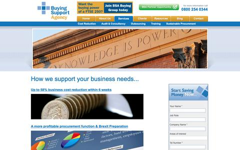 Screenshot of Services Page buyingsupport.co.uk - Buying agency providing consultancy, training and procurement advice, get our procurement audit - captured Oct. 7, 2018