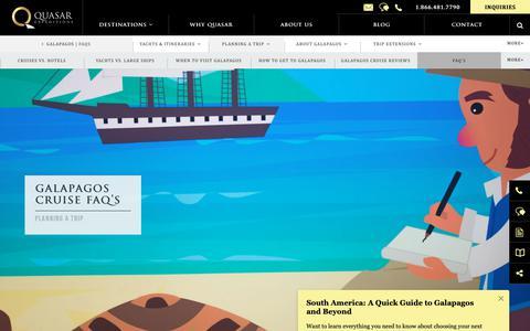 Screenshot of FAQ Page quasarex.com - FAQs About Galapagos Islands Vacations & People In Galapagos Islands - captured Nov. 1, 2018