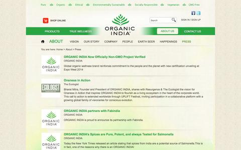 Screenshot of Press Page organicindia.com - ORGANIC INDIA Press Release - captured Oct. 31, 2014