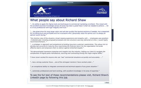 Screenshot of Testimonials Page aerostrat.co.uk - Testimonials - captured Oct. 4, 2014