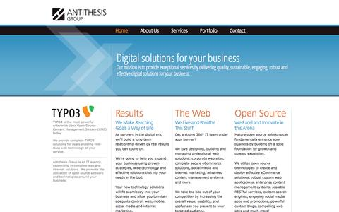 Screenshot of Home Page antithesis.gr - Antithesis Group - Digital agency, TYPO3 solutions, corporate web, social media, open source experts - captured Oct. 4, 2014