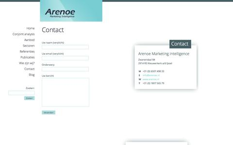 Screenshot of Contact Page arenoe.nl - Contact - Arenoe.nl - captured Oct. 4, 2014