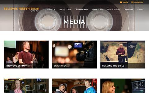 Screenshot of Press Page belpres.org - Media - Bellevue Presbyterian Church - captured Feb. 10, 2016
