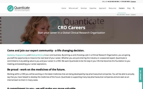 Screenshot of Jobs Page quanticate.com - CRO Careers | CRO Jobs | Clinical Research Organization | Quanticate - captured July 16, 2016