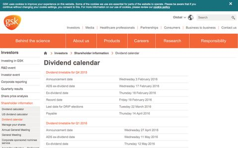 Screenshot of gsk.com - Dividend calendar | GSK - captured March 31, 2016
