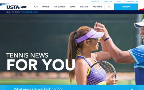 Screenshot of Press Page usta.com - News Resource Library - captured May 11, 2017