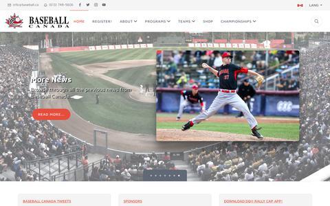 Screenshot of Home Page baseball.ca - Baseball Canada | Home - captured Nov. 13, 2018