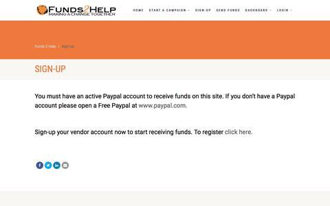 Screenshot of Signup Page funds2help.com - Sign-Up – Funds 2 Help - captured Sept. 3, 2018