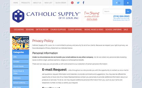 Screenshot of Privacy Page catholicsupply.com - Our Privacy Policy - captured June 28, 2017