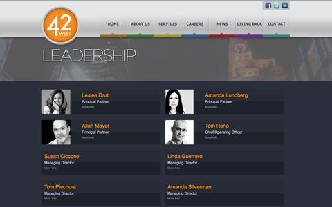 Screenshot of Team Page 42west.net - 42 West - Leadership - captured Oct. 27, 2014