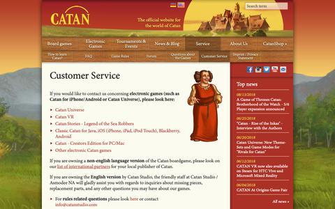 Screenshot of Support Page catan.com - Customer Service  | Catan.com - captured Sept. 27, 2018