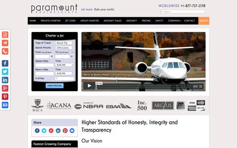 Screenshot of About Page paramountbusinessjets.com - Air Charter Company Information - Paramount Business Jets - captured July 11, 2016