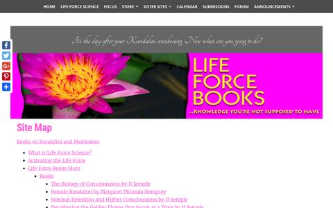 Screenshot of Site Map Page lifeforcebooks.com - Site Map, Guide to Life Force Books, JJ Semple's ideas - captured May 18, 2017