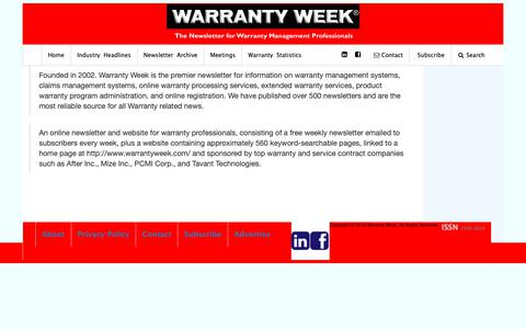 Screenshot of About Page warrantyweek.com - About Warranty Week - captured Oct. 20, 2018