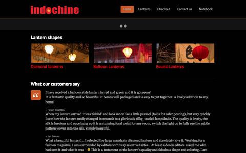 Screenshot of Home Page indo-chine.com - Vietnamese lanterns from Indochine - Vietnamese silk lanterns for sale. A colourful range of Asian hanging lamps and Chinese / Vietnamese silk lanterns - captured Oct. 6, 2014