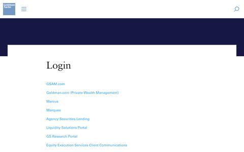 Screenshot of Login Page goldmansachs.com - Goldman Sachs | Login - Login - captured June 14, 2019