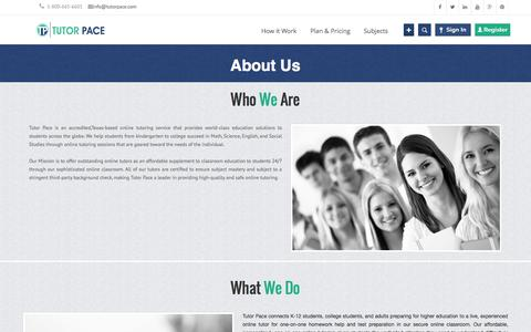 Screenshot of About Page tutorpace.com - About Us - Online Tutoring & Homework Help   Tutorpace - captured Oct. 10, 2014