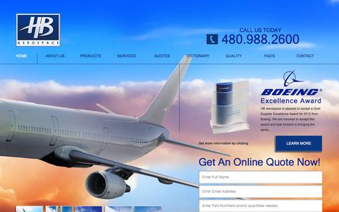 Screenshot of Home Page hbaerospace.com - Aerospace Supply Chain Solutions | HB Aerospace - captured Sept. 26, 2014