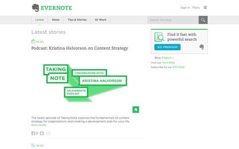 Screenshot of Blog evernote.com - Evernote Blog - Remember Everything. - captured April 25, 2017