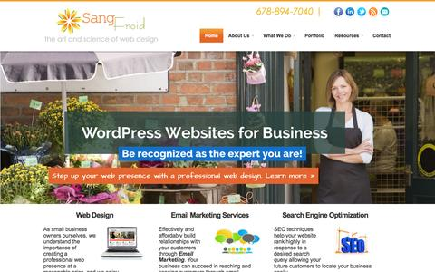 Screenshot of Home Page sangfroidwebdesign.com - SangFroid Web | Alpharetta & Atlanta Web Design and Email Marketing for Small Business - captured Oct. 4, 2014