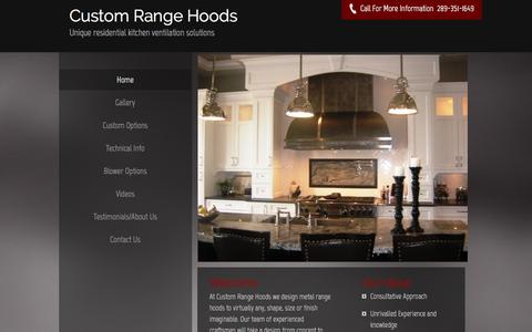 Screenshot of Home Page customrangehoods.ca - Custom Range Hoods inc. - Major Home Appliances, Kitchen Vent Hoods, Range Hoods - captured May 24, 2017