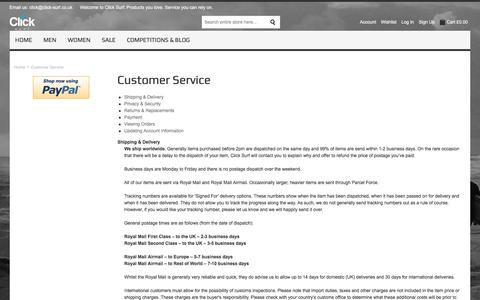 Screenshot of Support Page click-surf.co.uk - Customer Service - captured July 19, 2018