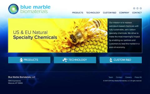 Screenshot of Home Page bluemarblebio.com - Blue Marble Biomaterials, LLC - captured Sept. 13, 2014