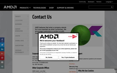 Screenshot of Contact Page amd.com - Contact Us at AMD - captured June 2, 2017