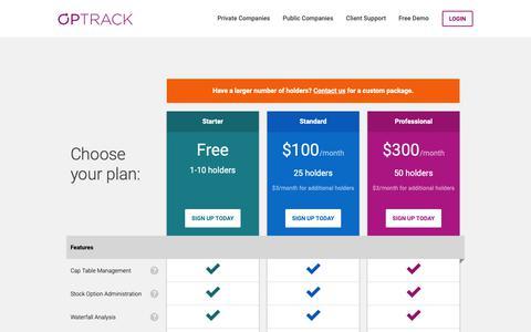 Screenshot of Pricing Page optrack.com - Pricing – OPTRACK   Computershare - captured Nov. 17, 2018