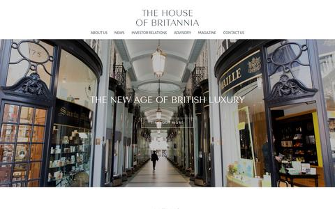 Screenshot of Home Page thehouseofbritannia.com - The House of Britannia | Investing in the future success of British Luxury Brands - captured Dec. 16, 2016