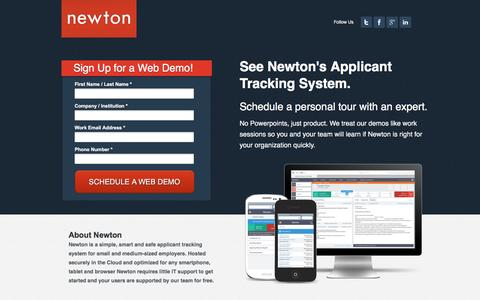 Screenshot of Landing Page newtonsoftware.com - Applicant Tracking System for Employers | Newton Software - captured April 19, 2017