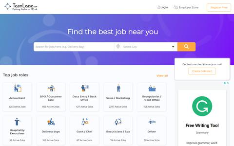 Screenshot of Home Page teamlease.com - Best job portal for hiring Blue collar workers/employees | Teamlease.com - captured July 20, 2019