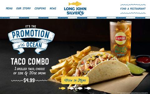 Screenshot of Home Page ljsilvers.com - Long John Silver's - captured July 19, 2019