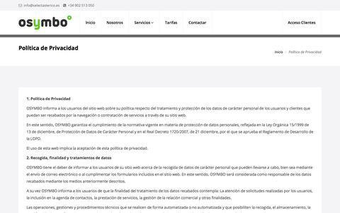Screenshot of Privacy Page osymbo.es - Política de Privacidad | osymbo :: by Select Asterisco - captured Jan. 20, 2018