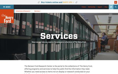 Screenshot of Services Page thehenryford.org - Research Services - The Henry Ford - captured April 16, 2016