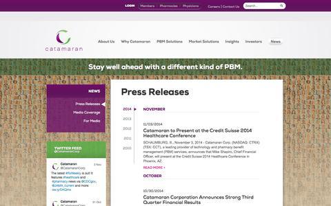 Screenshot of Press Page catamaranrx.com - Press Releases | Catamaran - captured Nov. 5, 2014