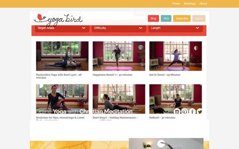 Screenshot of Home Page yogabird.co - Yoga Bird - HD yoga classes with Christian meditation - captured Sept. 4, 2015