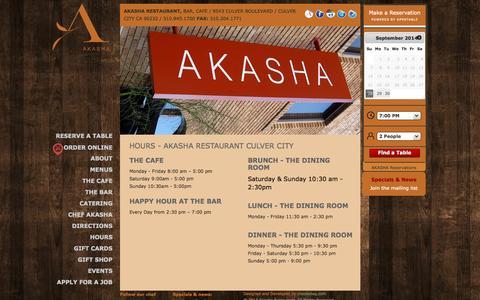 Screenshot of Hours Page akasharestaurant.com - Hours – Dining Room, Bar and Café | Akasha Restaurant - captured Sept. 30, 2014