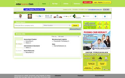 Screenshot of Home Page jobsmyarea.com - Cari Kerja   Jobs   Karir   Lowongan Kerja   Medan   Sumatera Utara - captured Feb. 11, 2016