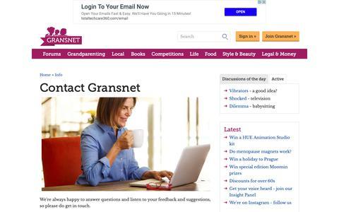 Screenshot of Contact Page gransnet.com - Contact Gransnet - captured Nov. 5, 2018