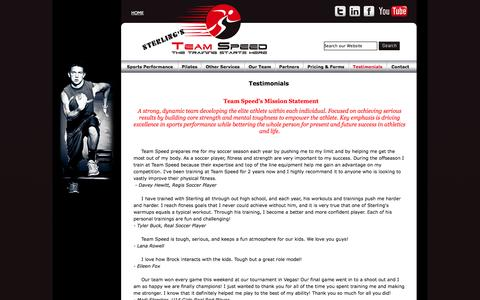 Screenshot of Testimonials Page teamspeedco.com - Team Speed - The Training Starts Here - captured Oct. 7, 2014