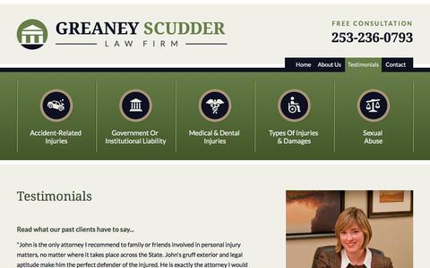 Screenshot of Testimonials Page greaneylaw.com - Testimonials - captured Sept. 18, 2017
