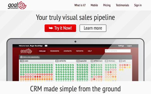 Screenshot of Home Page Pricing Page Testimonials Page goalsmashers.com - CRM & Visual Sales Pipeline  | Goal Smashers - captured Sept. 30, 2014