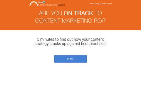Screenshot of Landing Page scoop.it - Content marketing ROI grader - captured Oct. 13, 2016