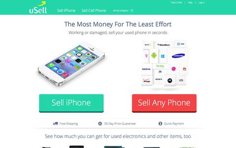 Screenshot of Home Page usell.com - Sell Your Phone | Sell Used Electronics Online for Cash | uSell.com - captured July 11, 2016