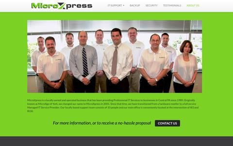 Screenshot of About Page microx.biz - MicroXpress - Outsourced IT Solutions for Central PA Businesses - captured Nov. 3, 2014