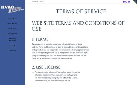 Terms of Service | HVAC Hacks