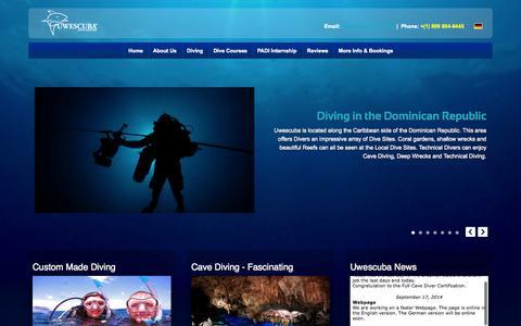 Screenshot of Home Page uwescuba.com - UWESCUBA - Scuba Diving - captured Sept. 30, 2014