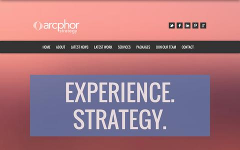 Screenshot of Home Page arcphor.com - Arcphor Strategy | Experience. Strategy. - captured Oct. 4, 2014